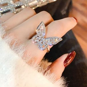 NEW! 925 silver white sapphires butterfly ring